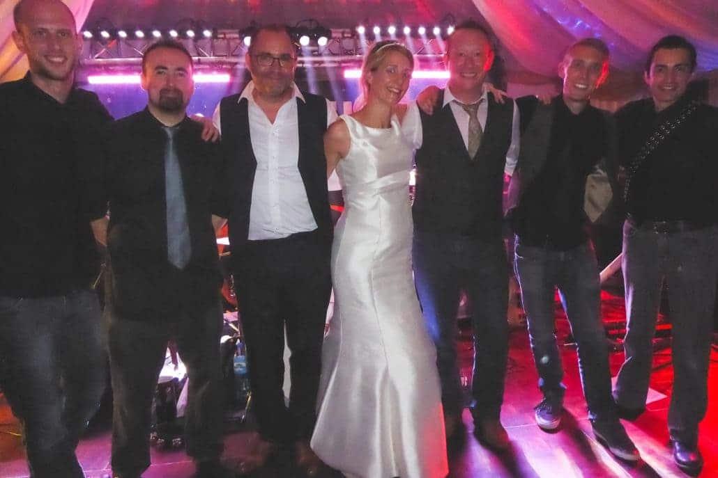 Berkshire wedding party band bride and groom at wedding
