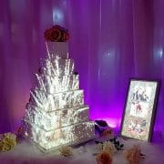 Firework cake projection on a projection mapping wedding cake