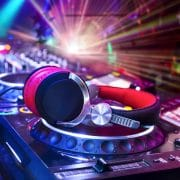 Virtual DJ service decks and headphones