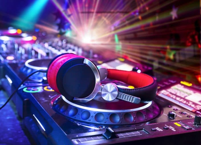 Virtual DJ service decks and headphones